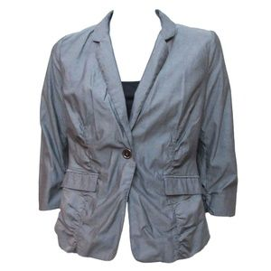 Kenneth Cole Gray Iridescent Ruched Blazer